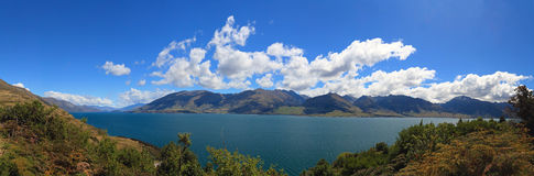 Panorama view of Lake Hawea Stock Photo