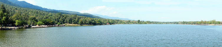 Panorama view of lake mountain Royalty Free Stock Images