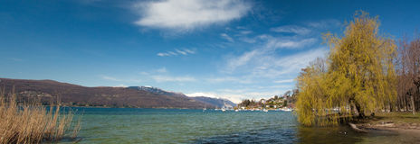 Panorama view on a lake and mountains Royalty Free Stock Photos