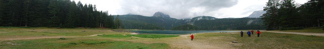 Panorama view on the lake in mountains Royalty Free Stock Photo