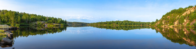 Panorama view of a lake Stock Images