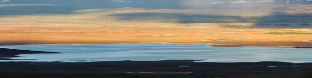 Panoramic view of Lake Sandvatn in Kjolur highland desert of Iceland. Panorama view of Lake Sandvatn in Kjolur highland desert of Iceland Stock Images