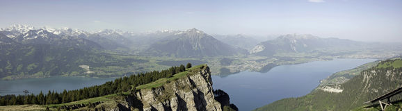 Panorama View of Lake Thun and Bernese Alps Royalty Free Stock Image