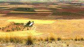 Panorama view of the rural landscape in Castile la Mancha, Spain Stock Photo