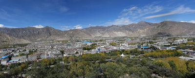 Panorama view of Lhasa city royalty free stock photography