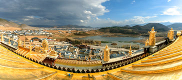 Panorama view from the lighthouse Songzanlin temple,Yunnan,China Royalty Free Stock Photo
