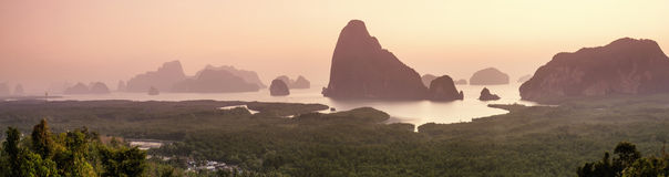 Panorama view of limestone mountain and phangnga bay Royalty Free Stock Image