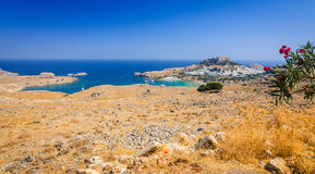Panorama view for Lindos village Royalty Free Stock Photos