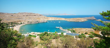 Panorama view at Lindou Bay, Greece Stock Images