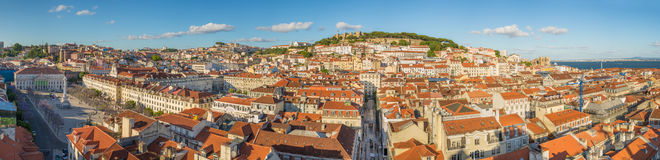 Panorama view of Lisbon downtown in the afternoon, Portugal, Europe. Panorama view of Lisbon downtown in the afternoon with sao jorge castle and river tejo Stock Photography