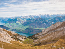 Panorama view of Lucerne lake and the Alps near Pilatus Stock Images