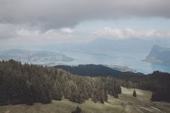 Panorama view of Lucerne lake and mountains scene in Pilatus of Lucerne. Switzerland, Europe. Summer landscape, sunshine weather, dramatic blue sky and sunny stock images
