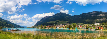 Panorama view of Lungern lake and the town Stock Images