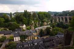 A panorama view of Luxembourg city. A panorama view of the old town in Luxembourg city Royalty Free Stock Photos