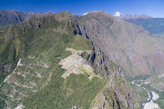 Panorama view of Machu Picchu from the top of the peak in  Peru Stock Photo