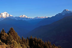 Panorama view of the majestic of himalayan mountain range during sunrise Stock Photos