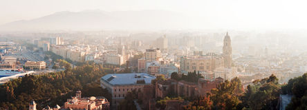 Panorama view of Malaga city, Spain Royalty Free Stock Photos