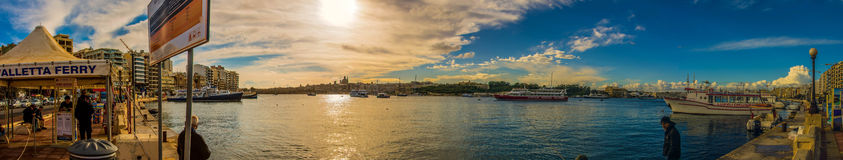 Panorama view at Malta Harbour - view to Valetta Royalty Free Stock Photo