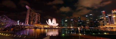 Panorama view of Marina Bay waterfront. SINGAPORE - JAN 1: The Panorama view of Marina Bay waterfront Jan 1,2012 in Singapore Stock Photos