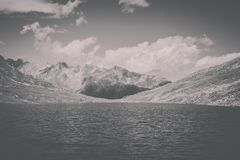 Panorama view of Marjelen lakes, scene in mountains. Route great Aletsch Glacier in national park Switzerland, Europe. Summer landscape, sunshine weather, blue stock photos