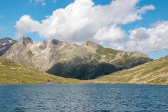 Panorama view of Marjelen lakes, scene in mountains. Route great Aletsch Glacier in national park Switzerland, Europe. Summer landscape, sunshine weather, blue stock photography
