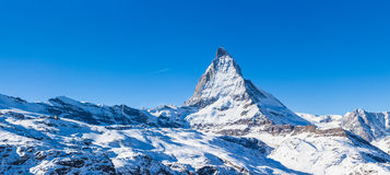 Panorama view of Matterhorn on a clear sunny day. From gornergrat train station royalty free stock image