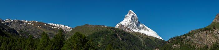 Panorama view of Matterhorn peak in sunny day from, Zermatt, Switzerland. royalty free stock image