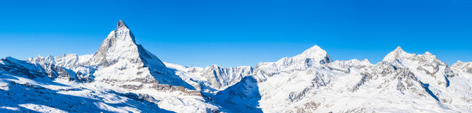 Panorama view of Matterhorn and Weisshorn Stock Image