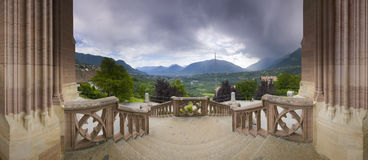 Panorama view from mausoleum scenna. Panoramic view point on the stairs of the mausoleum in the village Merano / South Tyrol overlooking the town of Merano Royalty Free Stock Photography