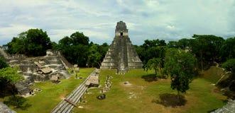 Panorama view of Maya ruins at Tikal, Guatemala, 2015 stock photography