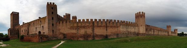 Panorama view of medieval defense walls of the town of Montagnana, Padua, Italy stock photo