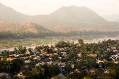 Mekong River from Above - Luang Prabang, Laos. Panorama view of Mekong River from the hill of Mount Phou Si in Luang Prabang, Laos Stock Photos