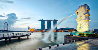 Panorama view of Merlion and Singapore city at night Royalty Free Stock Photo
