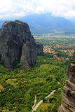 Panorama view from Meteora hills Stock Photography