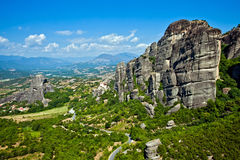 The panorama view of Meteora mountains, Greece Royalty Free Stock Image