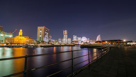 Panorama View of Minato Mirai Bay, Yokohama city. In Japan at night Royalty Free Stock Photo