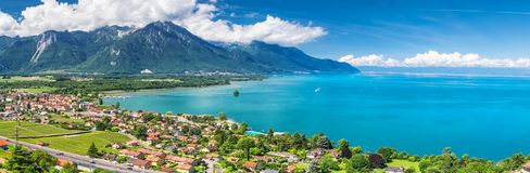 Panorama view of Montreux city with Swiss Alps, lake Geneva and vineyard on Lavaux region, Canton Vaud, Switzerland, Europe.  stock photos