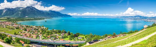 Panorama view of Montreux city with Swiss Alps, lake Geneva and vineyard on Lavaux region, Canton Vaud, Switzerland, Europe.  stock images