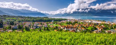 Panorama view of Montreux city with Swiss Alps, lake Geneva and vineyard on Lavaux region, Canton Vaud, Switzerland, Europe.  royalty free stock photos