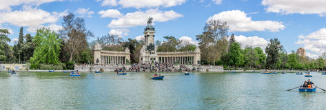 Panorama view at the Monument to Alfonso XII of Spain in Madrid Royalty Free Stock Photo