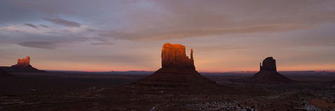 Panorama view of Monument Valley at sunset Royalty Free Stock Photo