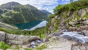 Panorama view on Morskie Oko from the to the Czarny Staw, Tatra, Poland royalty free stock photography