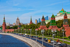 Panorama view of Moscow city, Russia. Postcard with Moscow Kremlin view. Scenic view of Moscow Kremlin. Cloudy day shot with Moscow river. Panorama view of Stock Photo