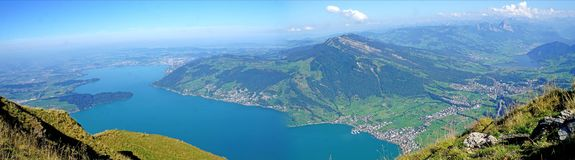 Panorama view from the Mount Rigi in Switzerland royalty free stock images