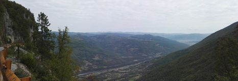Panorama view of mountain and Drina river canyon. Serbia royalty free stock images