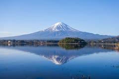 Panorama view of Mountain Fuji with reflection at Lake Kawaguchiko Royalty Free Stock Photos