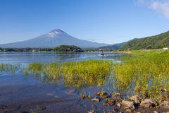 Panorama view of Mountain Fuji with reflection at Lake Kawaguchiko Stock Photography