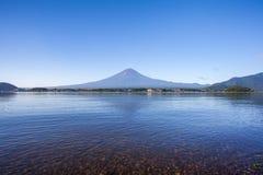 Panorama view of Mountain Fuji with reflection at Lake Kawaguchiko Royalty Free Stock Photo