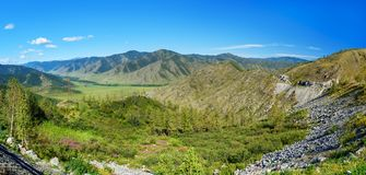 Panorama view from Mountain pass Chike-Taman. Altai Republic, Russia Stock Images