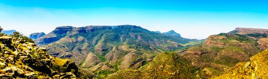 Panorama View of the mountains in the Blyde River Canyon along the Panorama Route. In Mpumalanga Province of South Africa Royalty Free Stock Image